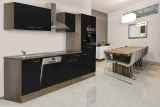 respekta Küchenzeile KB310EYS Eiche York Nachbildung - Front schwarz Seidenglanz