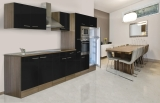 respekta Küchenzeile KB360EYSMIGKE Eiche York Nachbildung - Front Dickkante 1,2 mm schwarz Seidenglanz