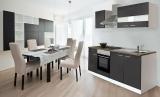 respekta Küchenzeile KB210WG grau ohne Kühlschrank