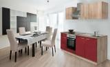 respekta Küchenzeile KB210ESROES rot  ohne Kühlschrank