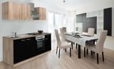 respekta Küchenzeile KB210ESSOES schwarz  ohne Kühlschrank