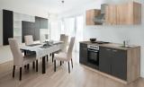 respekta Küchenzeile KB210ESGOES grau  ohne Kühlschrank