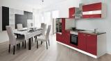Küchenblock Küchenzeile rot KB300WR 3 m breit