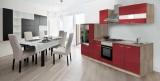 Küchenblock Küchenzeile rot Eiche KB300ESR 3 m breit