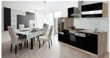 Küchenblock Küchenzeile 280 schwarz eiche KB280ESS