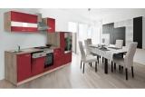 Küchenblock Küchenzeile 310 rot eiche KB310ESR
