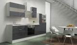 respekta Küchenblock RP300WGCMIS Hochglanz grau Schräghaube