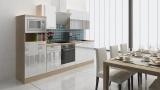 respekta Küchenblock RP280AWCMIS Hochglanz weiss Schräghaube