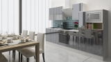 respekta Küchenblock RP310WGCMIS Hochglanz grau Schräghaube