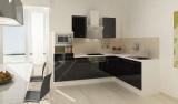 respekta L Küchenblock RP260WSCMIS Hochglanz schwarz Schräghaube 260 x 200 cm