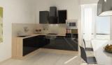 respekta L Küchenblock RP260ASCMIS Hochglanz schwarz Schräghaube 260 x 200 cm