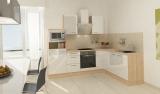 respekta L Küchenblock RP260AWCMIS Hochglanz weiss Schräghaube 260 x 200 cm