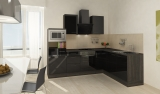 respekta L Küchenblock RP260ESCMIS Hochglanz schwarz Schräghaube 260 x 200 cm
