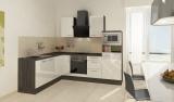 respekta L Küchenblock RP260EWCMIS Hochglanz weiss Schräghaube 260 x 200 cm