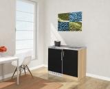 Miniküche MK100ESSCS schwarz mit Kühlschrank