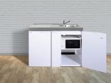 Miniküche MKM 120A Tee-Pantry links Becken rechts mit Apotherkerauszug