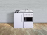 Miniküche MPM 100 Glaskochfeld links Becken rechts Mikrowelle