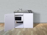 Miniküche MKM 100 Glaskeramik Kochfeld rechts Becken links mit Mikrowelle