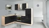 respekta L Küchenzeile RP260ASC 260x200 cm akazie schwarz Hochgl