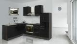 respekta L Küchenzeile RP260ESC 260x200 cm eiche schwarz Hochgl