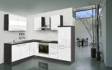 respekta L Küchenzeile RP260EWCOS 260x200 cm eiche Hochglanz