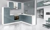 respekta L Küchenzeile RP260WGC 260x200 cm weiss grau Hochglanz