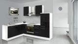 respekta L Küchenzeile RP260WSC 260x200 cm weiss schwarz Hochgla