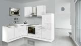 respekta L Küchenzeile RP260WWC 260x200 cm weiss Hochglanz