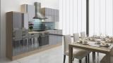 respekta Küchenzeile RP280AGC 280 cm akazie grau Hochglanz