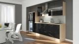 Küchenblock RP300HAS akazie schwarz hochglanz