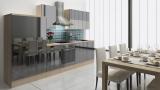 respekta Küchenzeile RP310ASC 310 cm akazie schwarz Hochglanz