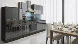 respekta Küchenzeile RP310ESC 310 cm Eiche grau schwarz Hochglan