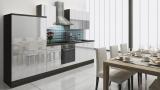 respekta Küchenzeile RP310EWC 310 cm Eiche grau weiss Hochglanz