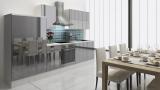 respekta Küchenzeile RP310WGC 310 cm weiss grau Hochglanz