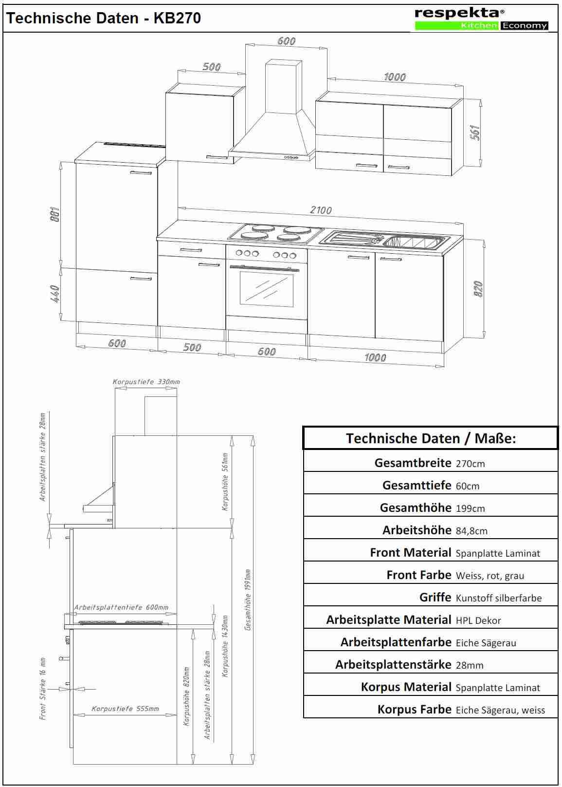 Küchenblock 280 Weiss Eiche LBKB280ESW